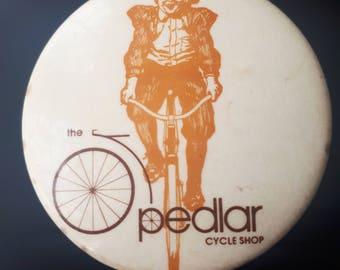 "Vintage Bicycle Shop Button Pin ""the Pedlar Cycle Shop"""