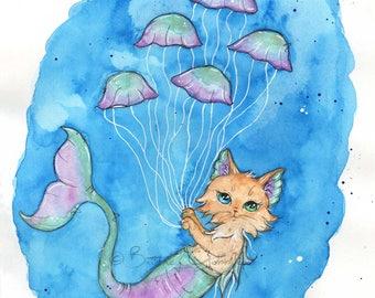 Jellyfish &  MerKitty Fine Art Print