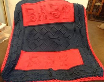 Handmade Textured Crochet Afghan, Word Blanket,  Baby Blanket.