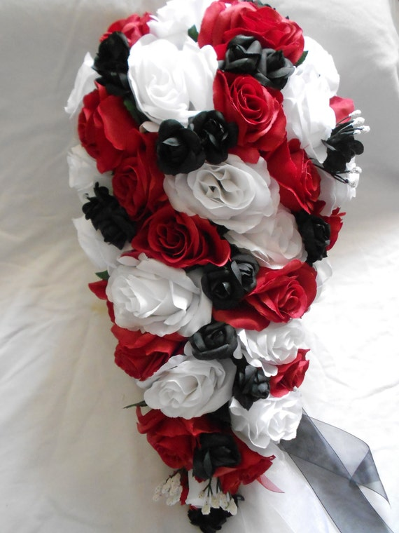 red and black wedding bouquets silk cascade wedding bouquet black and white set 23 6990