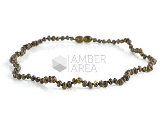 Green Amber Necklace, Baltic Amber Necklace, Polished Amber, 44 cm, 8233