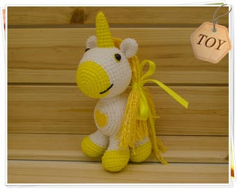 Crochet Unicorn, Amigurumi Unicorn, Yellow Heart Unicorn, Stuffed Unicorn, Handmade Unicorn, Unicorn Doll, Plush Unicorn, Soft Unicorn Toy