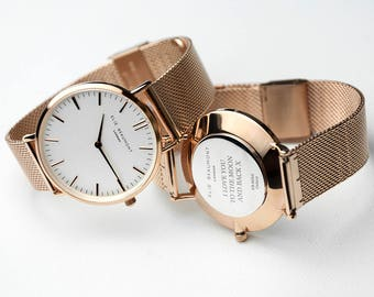 Personalised Rose Gold Mesh Strapped Watch With White Dial - Serif Font - Ladies Watch - Gift for Wife - Gift for Mum - FREE UK DELIVERY