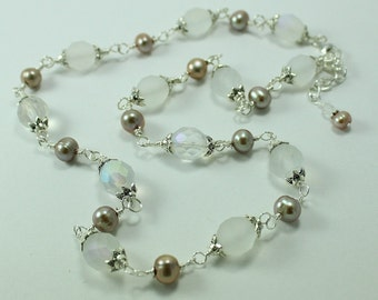 Pearl and White Frosted Czech Glass Necklace