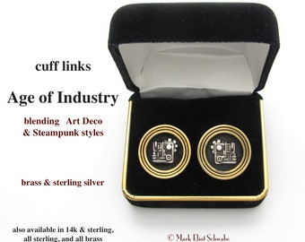 Age of Industry cuff links blend the bold simplicity of Art Deco and the intricate musings of Steampunk, sterling silver & brass