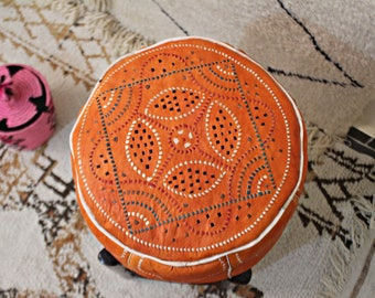 LUXURIOUS  Moroccan Handmade  Leather Pouf Ottoman Floor Orange Pouf Moroccan decor
