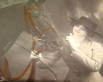Nice Vintage/Antique Hand Tinted RPPC (Lady & Horse)