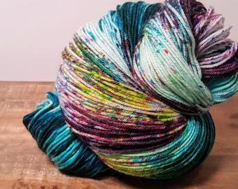 Over the Moon Sock- Spellbound- Hand Painted-Hand Dyed- Superwash USA Merino - Nylon- Sock Yarn- 420yds - sw merino 80/20