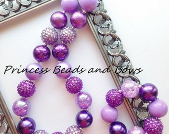 Shades of Purple and Lavender Chunky Necklace and Bracelet Set, Purple and Lavender Bubble Gum Necklace, Kids, Girls, Baby, Photo Prop