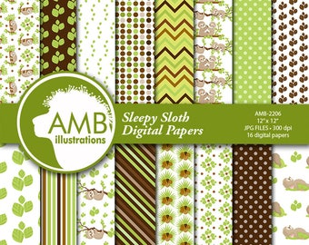 Sleepy Sloth Digital Papers, Sloths digital backgrounds, Cute sloth pattern papers,  for card making and crafts, Comm Use, AMB-2206