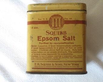 Vintage 1940's Squibb Epsom Salt Tin