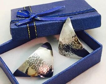 Vintage Leopard Print Triangle Sterling Silver Post Earrings - 4.6 Grams