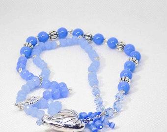 Blue Necklace, Light Blue Necklace, Heart  Pendant Blue Necklace, Sparkling Blue and Silver Necklace, Handmade Beaded Necklace, Silver Heart