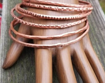 Handcrafted and Hammered Thin Bangles