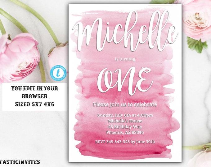 Watercolor Birthday Invitation, First Birthday Invitation, Pink Watercolor Invitation, Birthday Template, Editable Invitation, Watercolor