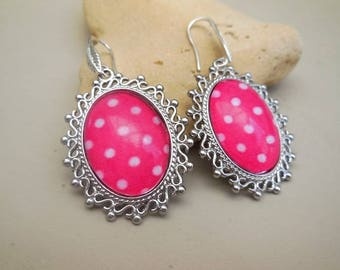 Earrings shaped cabochon - gift for her - Silver earrings - gift for her