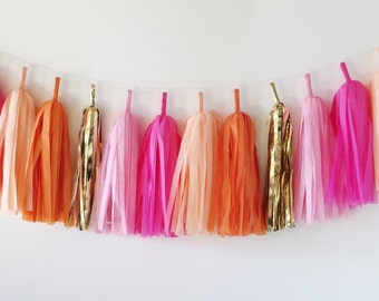 Tissue Tassel Garland  //  Blush  //  Bright Pink  //  Peach  //  Orange  //  Gold  //  Baby Shower  //  Bridal Shower  //