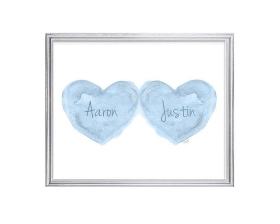 Twin Boys Personalized Gift, 8x10 Blue Watercolor Print with Names