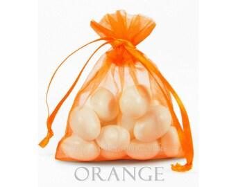 10 Orange Organza Bags, 6 x 9 Inch Sheer Fabric   Favor Bags