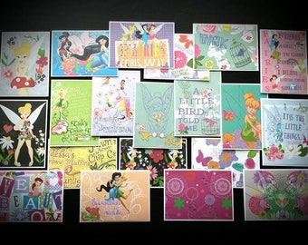 20 Handmade Tinkerbell and Fairy Cards with Envelopes / Cards with Envelopes / Disney Cards / Tinkerbell Cards / Fairy Cards / Stationary