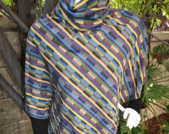 Poncho with Cowl Neck in Geometric Multicolored Fabric