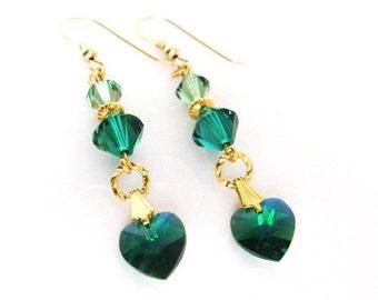 Emerald Green Heart Earrings, Swarovski Crystal May Birthstone Jewelry, Heart Jewelry Gift for Her, Gold Filled Heart Earrings