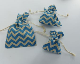 3 bags in linen and cotton zig zag blue and natural Brown bags 3 sizes small gift bags fabric jewelry