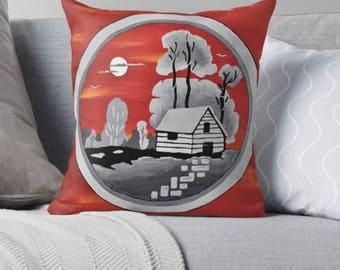 Art Throw Pillow, Original Art Cushion, Red and Grey Throw Pillow Covers, Red Cushion, Living Room Decor, Cushion Cover
