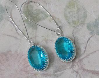 Sapphire Rhinestone Earrings - Sapphire Earrings - Bridesmaids Jewelry Gifts - Crystal Statement Earrings - Silver Drop Earrings