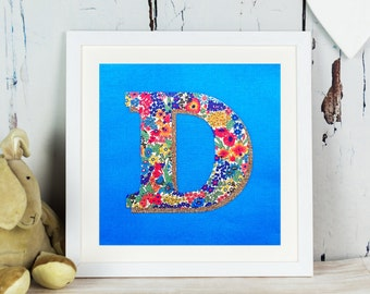 Liberty Glitter Initial Print - letter - monogram - personalised gift for girl- Liberty of London - personalized - turquoise - fabric art