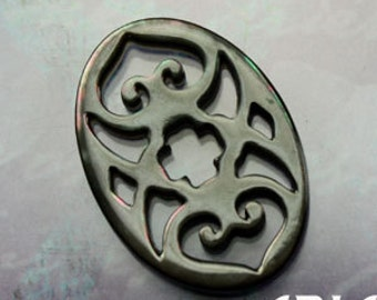 MOTHER OF PEARL: 18x25mm Black Mother of Pearl Carved Openwork Heart Cross Component or Connector (1)