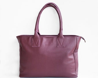 Leather Shopper in Burgundy /Leather Tote / Shoulder Bag / Burgundy Leather Bag / Leather Bag  / Leather Handbag / Morelle Bag