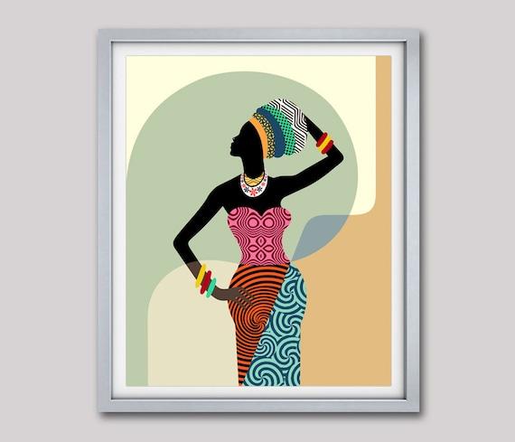 African Woman,  African Wall Art,  African Wall Decor, Black Woman, African Print, South African Art , African Designs