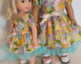 Easter Dresses Set of Two American Made Girl Doll 18in and 14 in