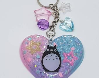 Totoro Keychain Pastel Colours resin-totoro pastel colors resin keychain chubby Heart