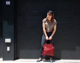 Leather Bag, Leather Handbag,  Leather Shoulder Bag, Leather Purse, Red Shoulder Bag, Floto Bolotana Bag (6104RED)
