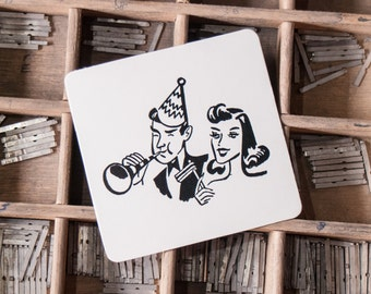 Pack 25 Letterpress Vintage Party Coasters Friends