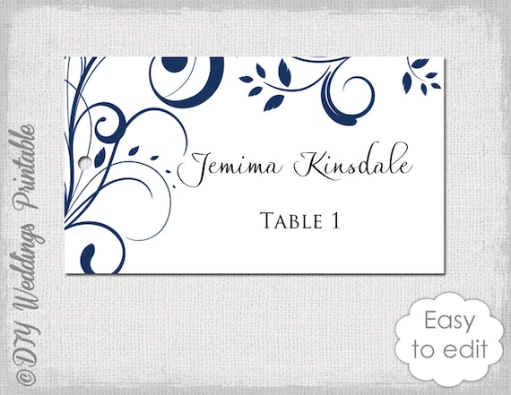 name card template navy blue scroll escort cards