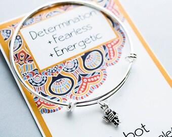 Intention Jewelry -Bangle Charm Bracelet - Robot Charm Bracelet - Friendship Bangle Bracelet - Silver Bangle Charm Bracelet