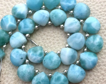 3 Matched Pair, NATURAL LARIMAR Smooth Heart Shape Briolettes, 10x10mm size.Superb Item at Low Price