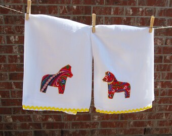 Set of 2 Swedish Dala Horse Tea Towels - Dala horse Red Paisley with yellow rickrack trim