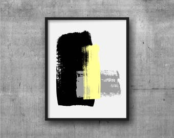 Black Yellow & Gray Art, Abstract Art, Contemporary Art, Art Print, Abstract painting, Contemporary Painting, Minimal, Minimalist