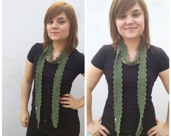 Green thin scarf, crocheted scarf, green scarf, khaki scarf, thin scarf, cotton scarf, thin scarf, crocheted green scarf, summer scarf