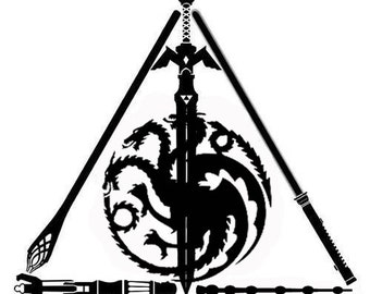 Harry Potter Deathly Hallows Decal. Star Wars. Lord of the Rings. Game of Thrones. Zelda. Fandom. Coexist. Nerd Geek. Car Decal. Wall Decal.