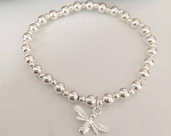 Sterling silver bee bracelet. Silver bumblebee bracelet. Silver bee bracelet. Sterling silver bumblebee bracelet. Bee bracelet. Bumblebee.