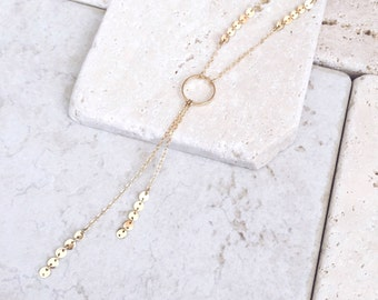 Y necklace, delicate necklace, lariat necklace, gift for her, bridesmaids gift, unique necklace,