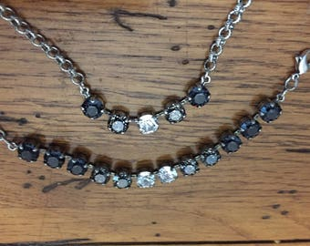 Swarovski 8.5 ombre white gray black mm oxidized silver Necklace and bracelet