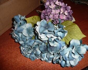 Blue & Purple Faux Silk Hydrangeas Flowers