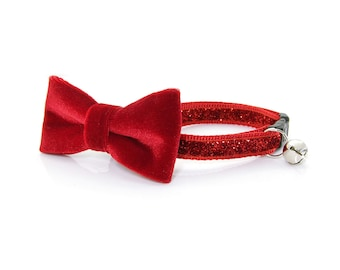 "Red Bow Tie Cat Collar Set - ""Superstar"" - Ruby Red Sparkle Collar + Red Velvet Detachable Bow Tie"