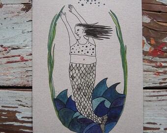 Mermaid Watercolor Print - Ana